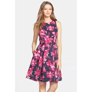 Eliza J Faille Fit Flare Dress pink floral pockets